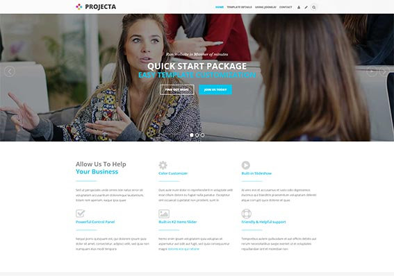 Create a mobile friendly business website with Projecta