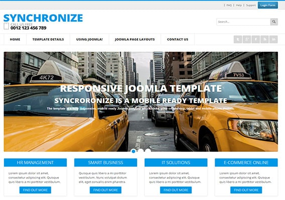 synchronize is a mobile friendly Joomla web template